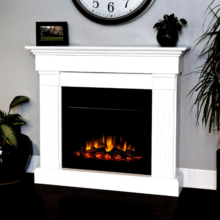 Real Flame Crawford 47 In Slim Line Electric Fireplace In White