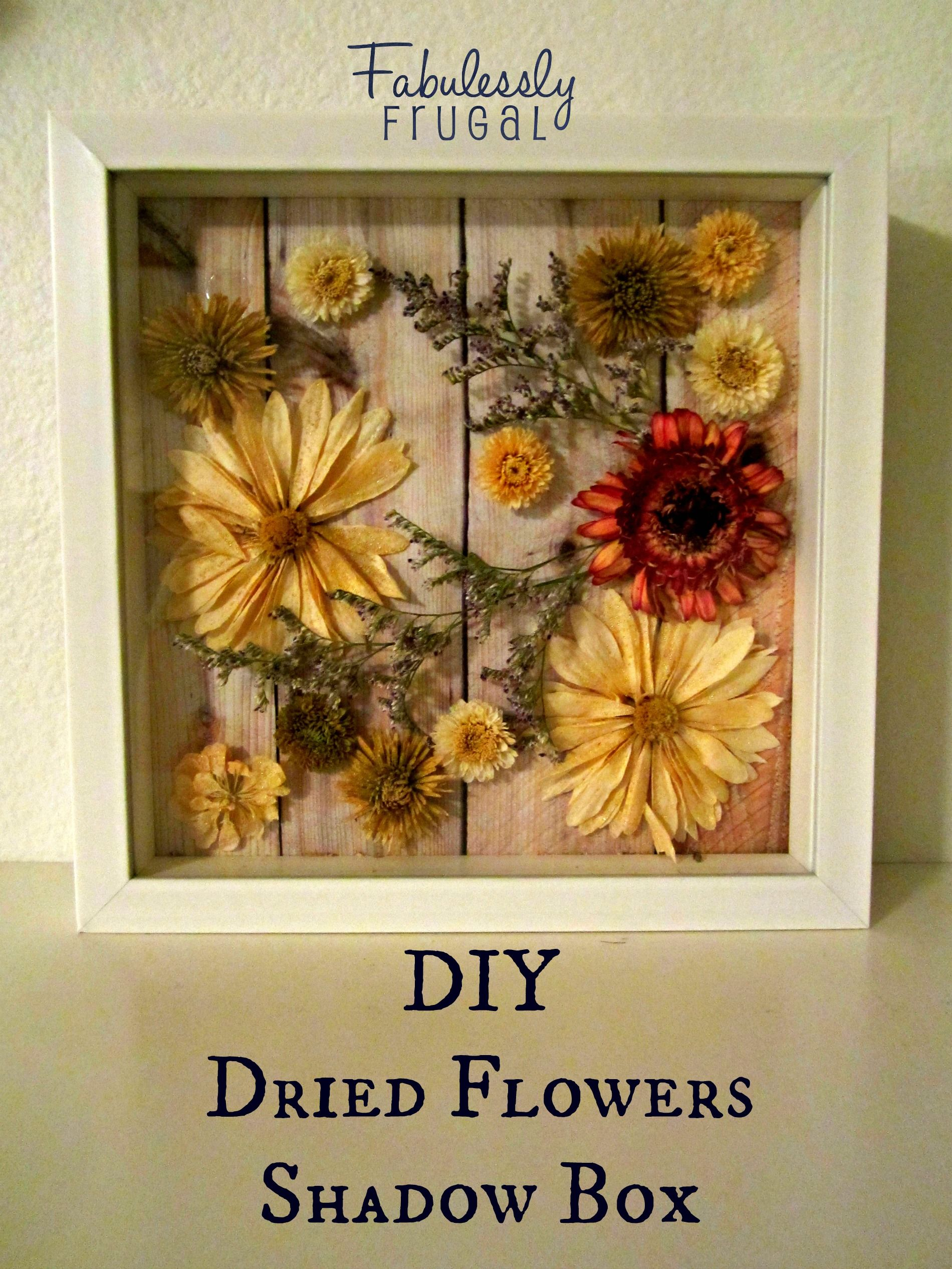 How to scrapbook dried flowers - Diy Dried Flowers Shadow Box