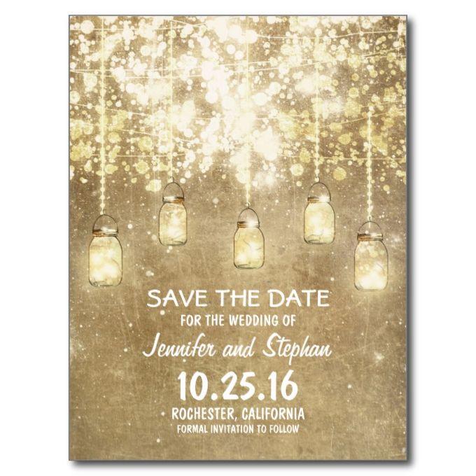 romantic string lights mason jars save the date announcement postcard | Zazzle.com