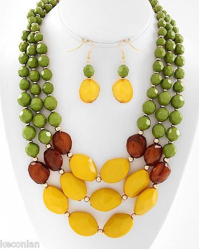Layered Green Brown Yellow Beaded Statement Necklace