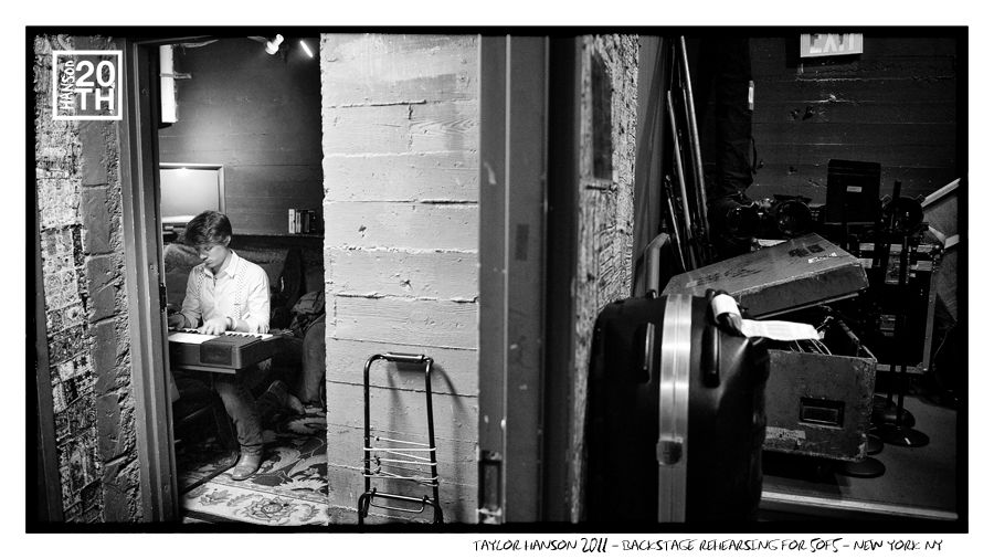 Photo 102 of 365  Taylor Hanson 2010 - Backstage Rehearsing for 5of5 - New York NY	    In this shot Taylor is going through final rehearsal of keyboard parts before the start of the 5of5 concert series. What song do you think he is rehearsing? It could be any of 76 songs from the five albums.    #Hanson #Hanson20th