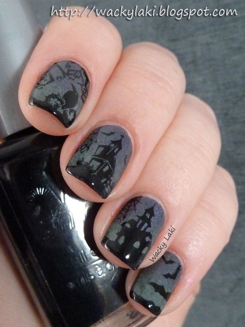 Halloween Nail Art I Love The Gray And Black Halloween Manicure Halloween Nails Halloween Nail Art