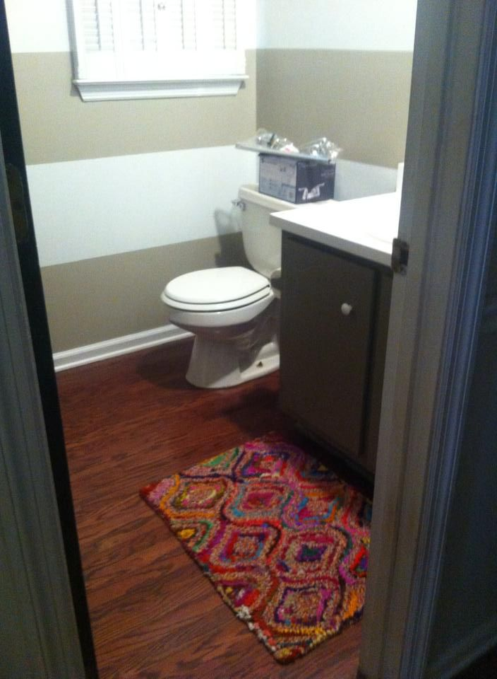 Painted stripes in the powder room. makeover in progress ...