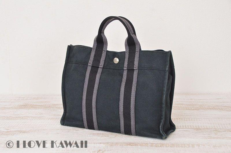 71c369ed8332 Hermes Black   Grey Canvas Fourre Tout PM Tote Bag