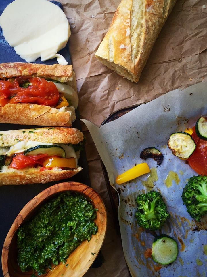 These delicious roasted vegetable and pesto baguette melts combine crusty bread, fresh mozzarella, herb roasted veggies, and homemade pesto!