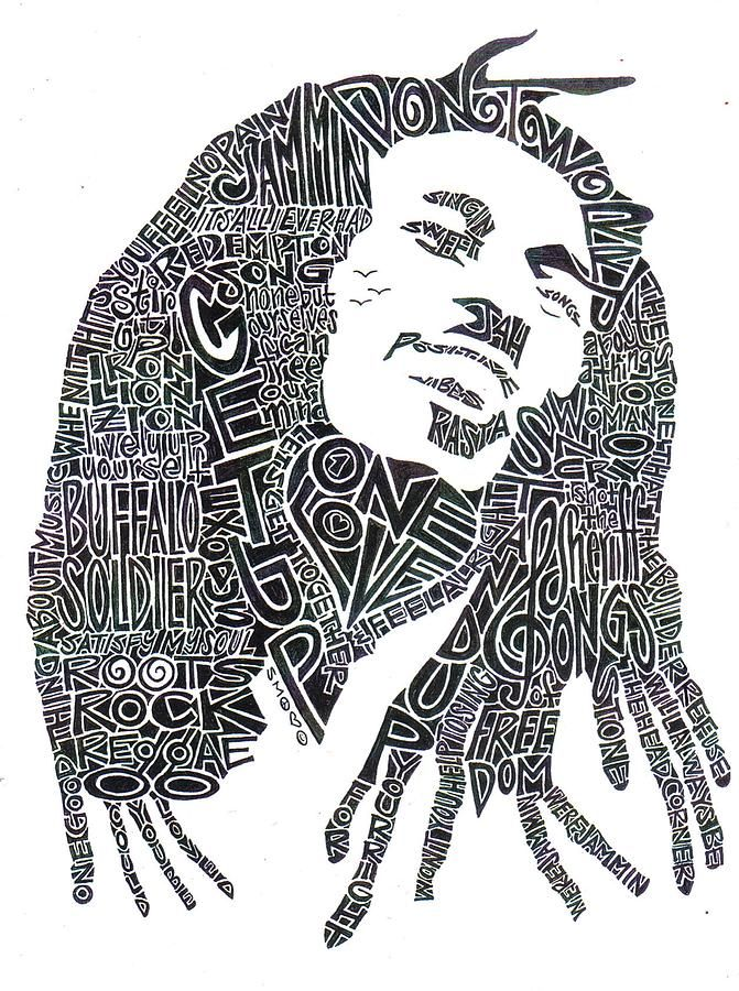 Bob Marley Black and White Word Portrait how cool