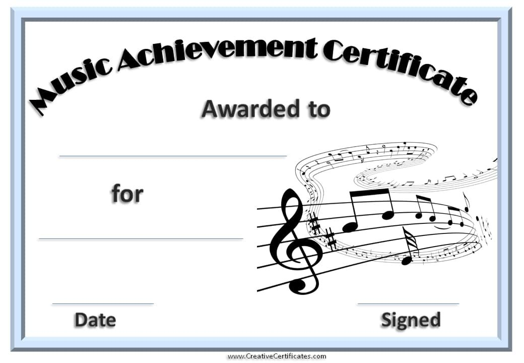 Printable music certificate with a light blue border kid piano music certificate template free and customizable creative certificates yelopaper Gallery