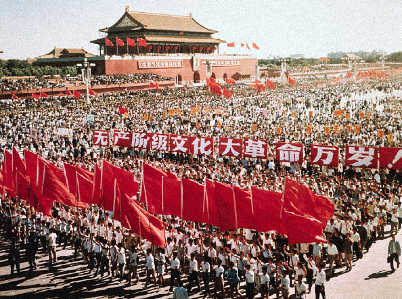 Masses rally outside the Gate of Heavenly Peace in Beijing for China's National Day during the height of the Cultural Revolution late 1960s [1280x952]