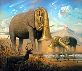"""Salvador Dali schilderij """"Olifanten"""" maakt alles, maar de dieren zelf, wastafel en oplossen in het licht van de zonsondergang.Aan de voet van olifanten afgebeeld contouren van menselijke figuren toekomst;hun schaduwen uitgerekt bijna net zo grotesk als de voeten van olifanten.Een van de cijfers lijkt op het silhouet van een man, de andere - een vrouw of een engel.Tussen de cijfers van de mensen op de achtergrond, het huis is semi-transparant, verlicht door de ondergaande zon."""