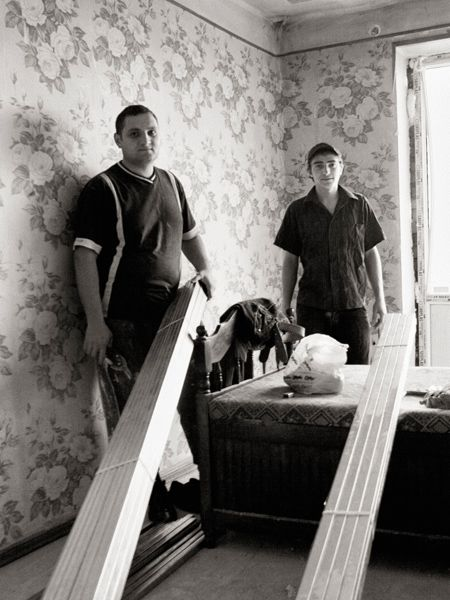 These local guys were helping to replace all the bombed out windows in one of the tower blocks.