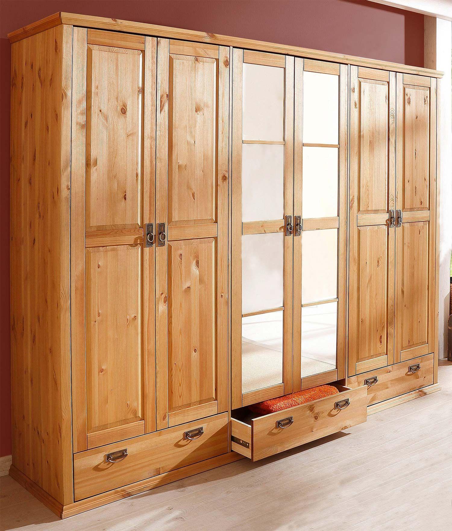 Kleiderschrank Schlafzimmerschrank Kiefer Massiv Natur 245cm 6