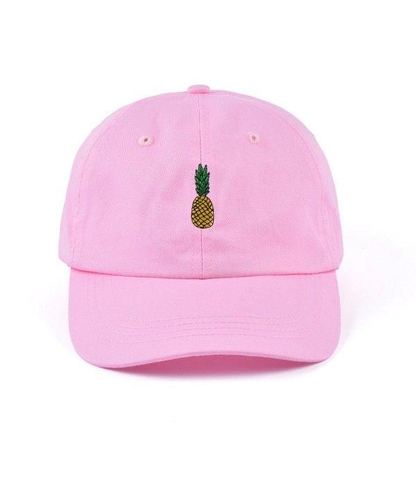 5c19eda968382 Pineapple Embroidered Dad Hat Cotton Women Men Cute Adjustable Baseball Cap  Medium Pink CZ180RGUMIT - Hats   Caps