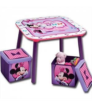 Mesa Minnie Disney y 2 taburetes guarda juguetes. TT89423MN ...