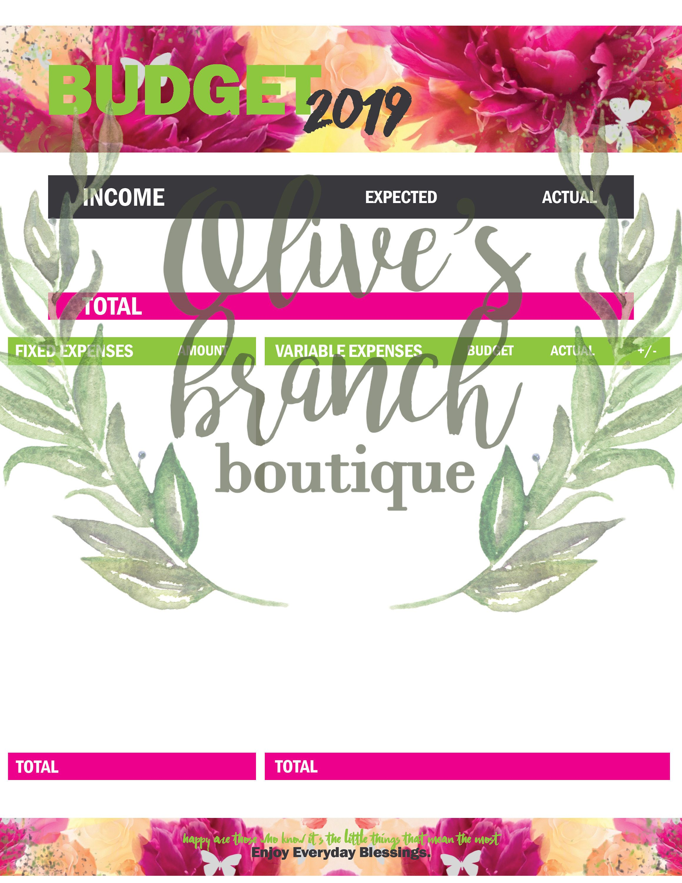 Peony Printable Budget Worksheets For Income Expense