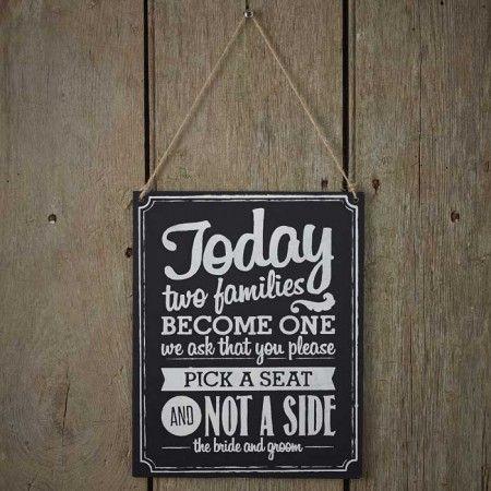 """Dit krijtbord met vintage uitstraling en de tekst """"Pick a Seat, not a Side"""" is echt een must have voor jullie trouwfeest! Ook heel leuk bij je ceremonie. - See more at: https://www.weddingdeco.nl/krijtbord-pick-a-seat-not-a-side#sthash.Ufj4AKHU.dpuf"""