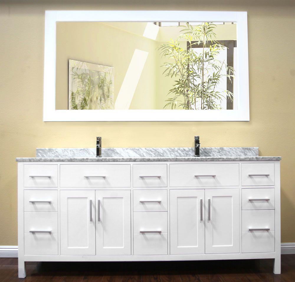 Avola 78 Inch Double Sink Bathroom Vanity Set White Finish With