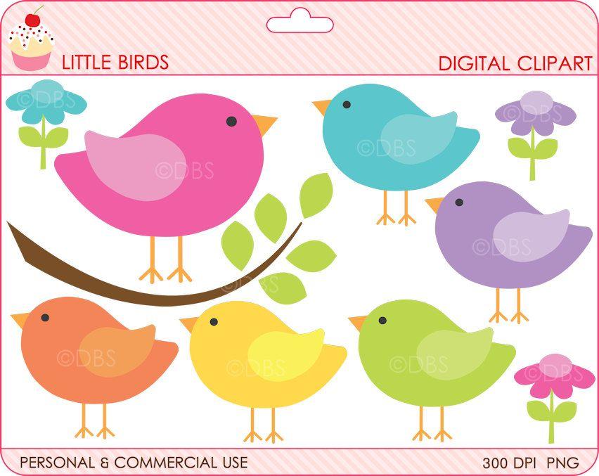 birds clipart digital clip art branch animals woodland spring ...