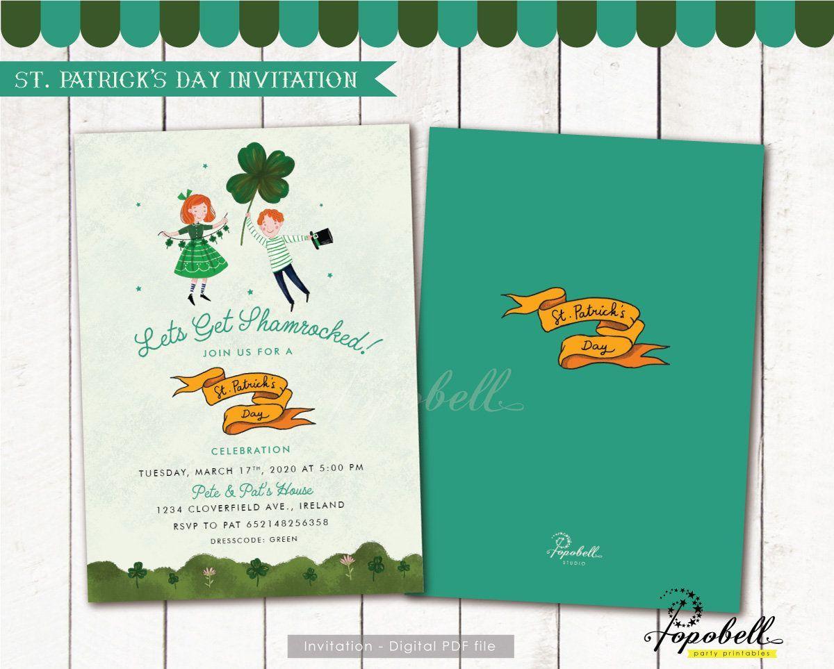 St. Patrick's Day Einladung zum Ausdrucken. St. Patrick's Day Party. Doppelseitige St. Patrick's Day Card. Shamrock Irish Einladung. DIGITAL PDF, #ausdrucken #Card #Day #Digital #Doppelseitige #einladung #Irish #Party #Patrick39s #PDF #Shamrock #zum