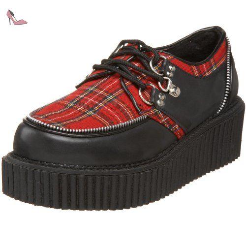 Demonia CREEPER-113 Blk Vegan Leather-Red Plaid Size UK 6 EU 39 -