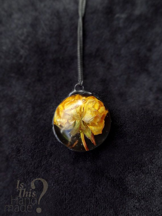 Real yellow rose necklace 3d round hemisphere jewel shaped resin real yellow rose necklace 3d round hemisphere by isthishandmade mozeypictures Gallery