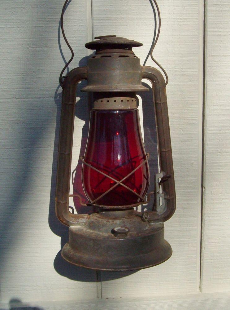 Vintage Dietz No2 Blizzard Red Globe Barn Lantern Ny Usa In