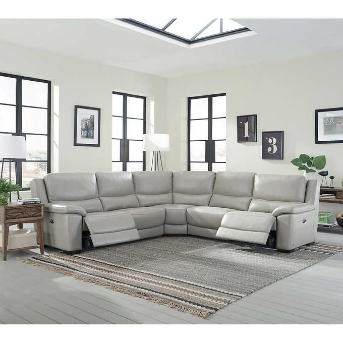 Stonebrook Top Grain Leather Power-Reclining Sectional : top grain leather sectional recliner - Sectionals, Sofas & Couches
