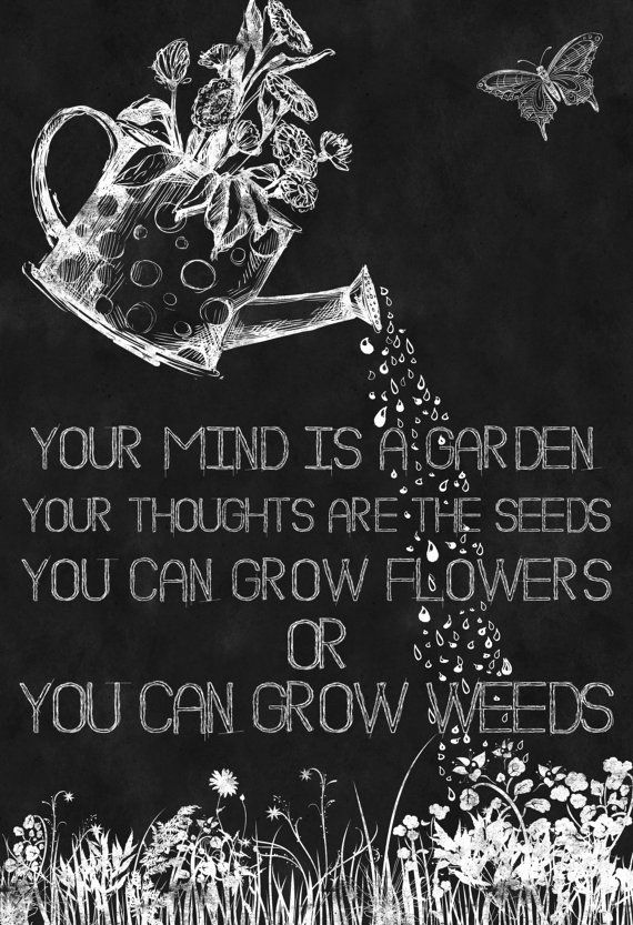 Chalkboard Art-Quotes-Garden-Grow Flowers-Watering Can ...