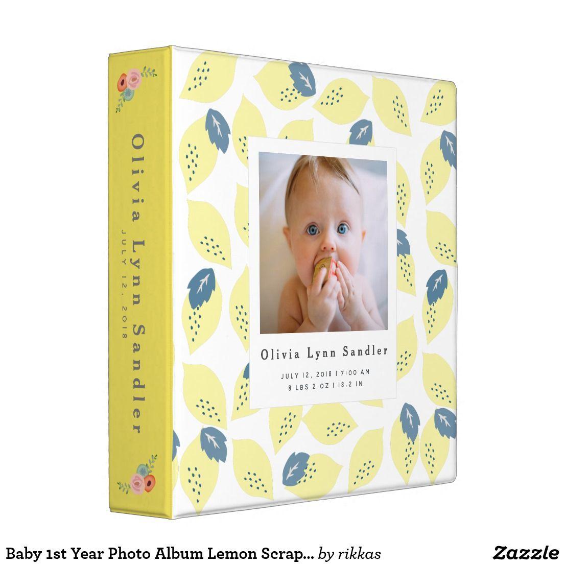 Baby 1st Year Photo Album Lemon Scrapbook Binder
