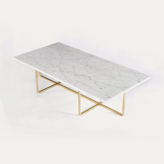 Ninety Coffee Table 120x60x40 Cm Br Base White Marble