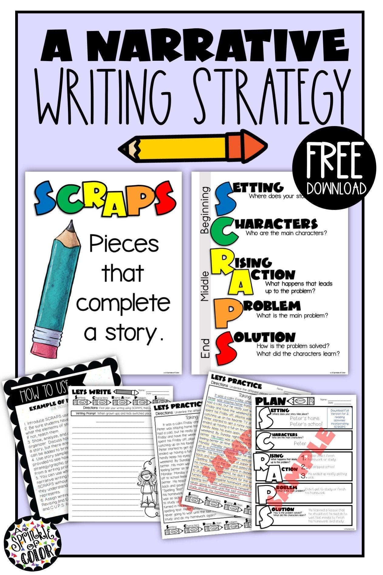 A Free Narrative Writing Strategy Or Method To Teach Students How To Write A Story Helps Them Include Ke Writing Strategies Narrative Writing Teaching Writing How to teach narrative writing to