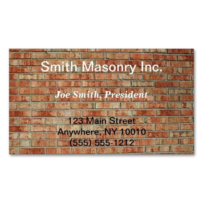 Masonry business card pinterest business cards construction masonry business card this great business card design is available for customization all text style colors sizes can be modified to fit your needs colourmoves