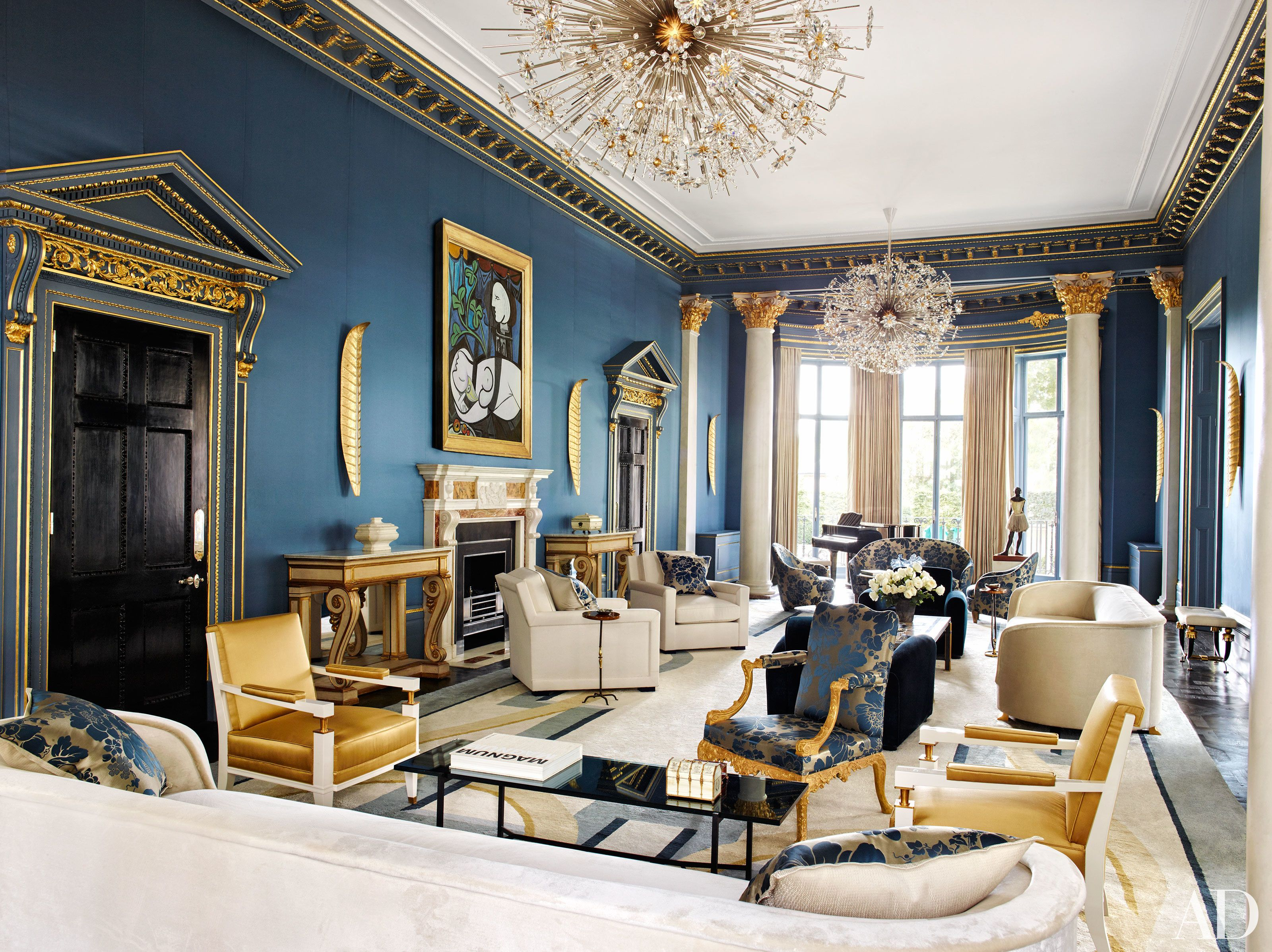 Best 8 Rooms That Pair Blue And Gold Perfectly Eclectic Decor 400 x 300