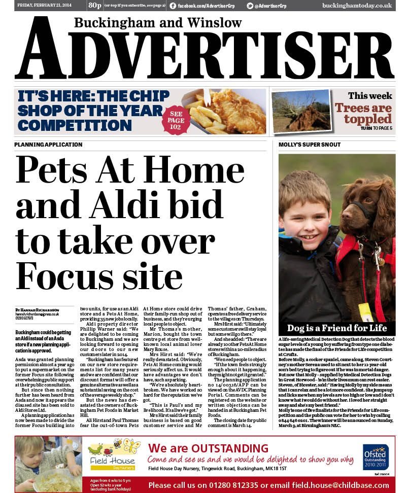 Buckingham And Winslow Advertiser February 21 Aldi And Pets At Home Plan For Former Focus Site How To Plan Animal House Advertising