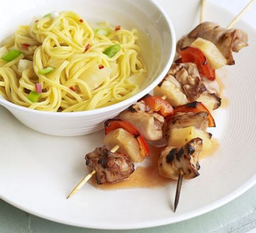 sweet  sour chicken skewers with fruity noodles  recipe