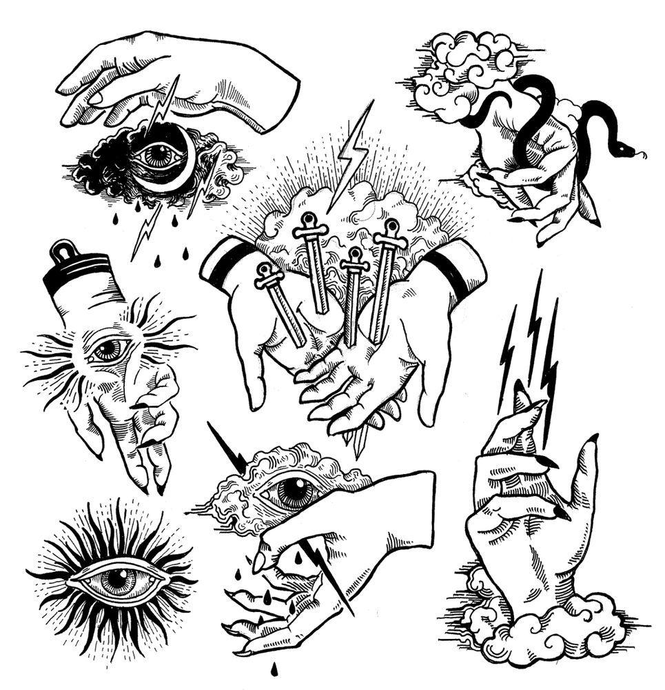 Aristaparamarta: I will do unique illustration design a tattoo flash sheet for $10 on fiverr.com