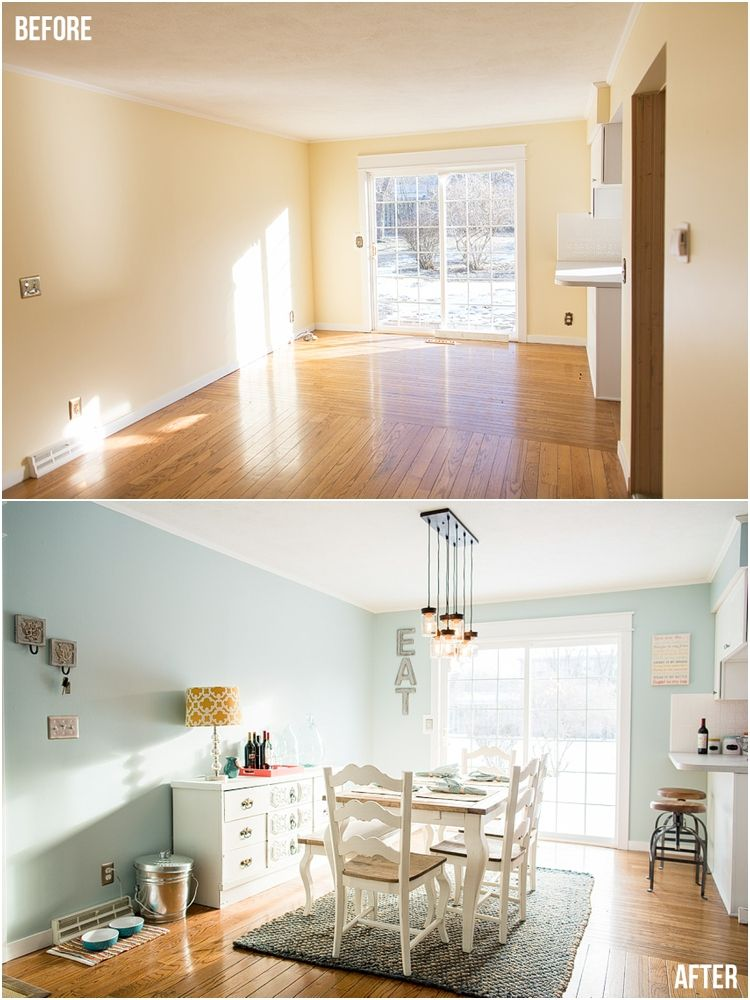 Dining Room Transformation Before After Paint Color Sherwin Williams Tradewind Kitchen Colors