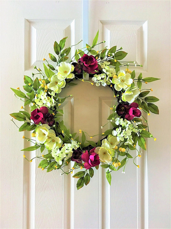 Spring Wreath For Front Door Flower Berry Wreath Summer Wreath For