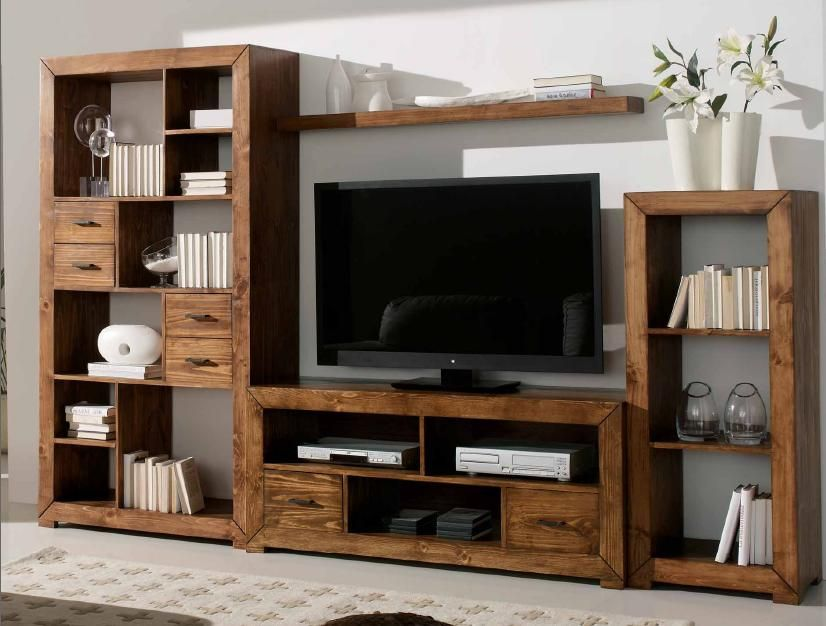 modular rstico tv con tres muebles de distinto tamao y repisa