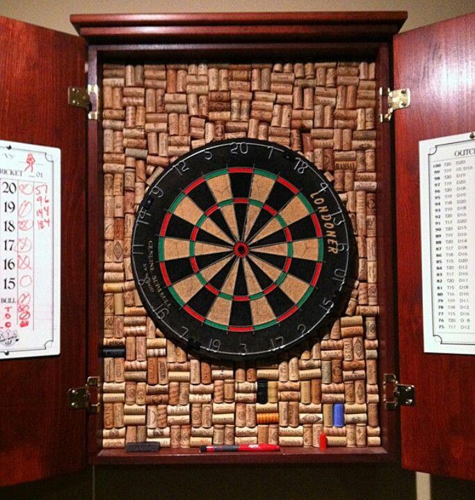 Dart board cabinet | Cork and bottle crafts | Pinterest | Dart ...
