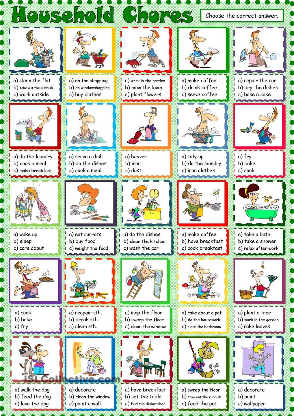 household chores esl printable worksheet of the day on august 22