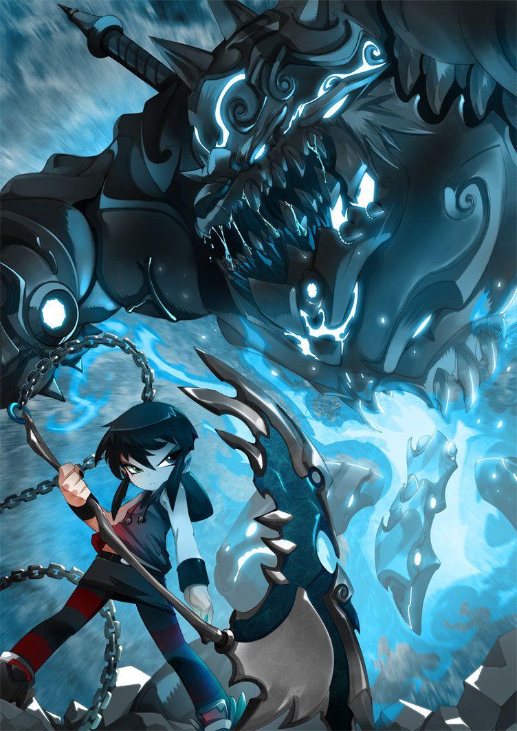 bleedman deegee/ wolf/ battle/ scythe/ blue/ chain