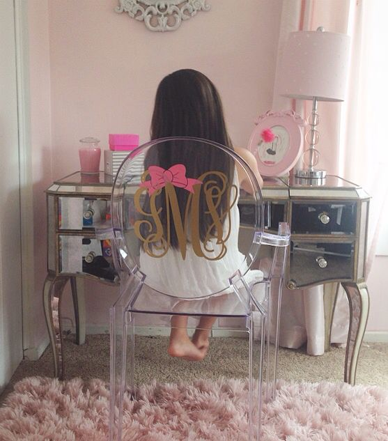 Clear Monogrammed Ghost Chair Mirrored Vanity Gold And Pink Room Insta Msolecito917 Pink Room Girls Room Decor Girl Room