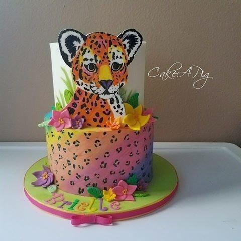 Stupendous Lisa Frank Cheetah Cake By Cakeapig Cheetah Birthday Cakes Funny Birthday Cards Online Alyptdamsfinfo