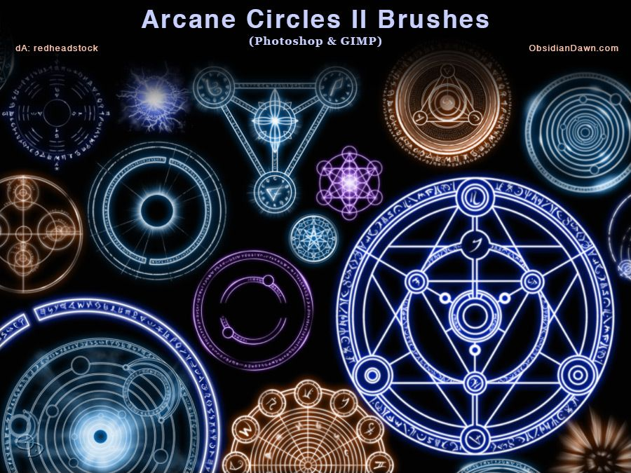 Arcane Circles II Brushes by redheadstock magic occult illustration drawing brush set pack resource tool how to tutorial instructions | Create your own roleplaying game material w/ RPG Bard: www.rpgbard.com | Writing inspiration for Dungeons and Dragons DND D&D Pathfinder PFRPG Warhammer 40k Star Wars Shadowrun Call of Cthulhu Lord of the Rings LoTR + d20 fantasy science fiction scifi horror design | Not Trusty Sword art: click artwork for source