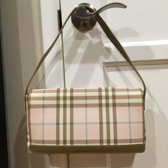 bba6c6502c51 Authentic Burberry Pink Plaid Flap Shoulder Bag Authentic Burberry pink  plaid flap shoulder bag. Pink