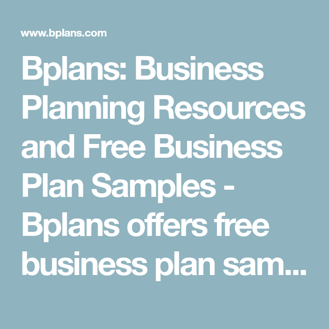 Bplans: Business Planning Resources And Free Business Plan