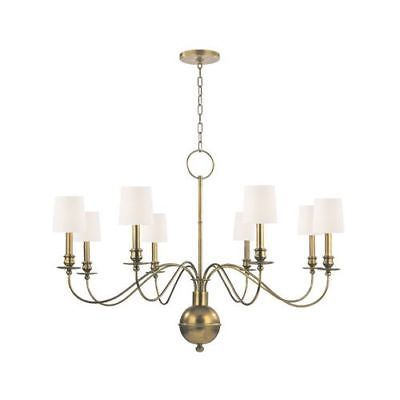 Hudson valley lighting 8218 aged brass white silk shades cohasset 8 light white silkhudson valleyceiling fanslamp lightlampstransitional