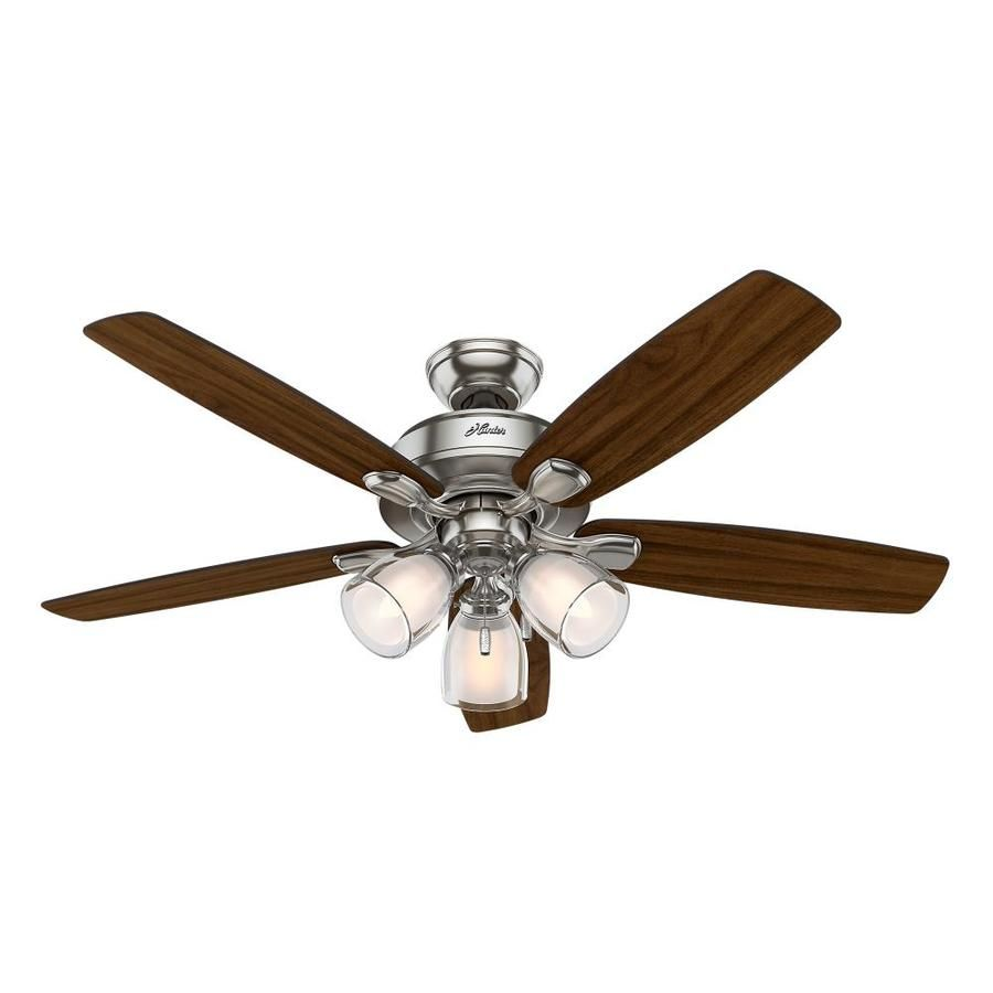 Hunter Meridale 52 In Brushed Nickel Incandescent Indoor Ceiling Fan 5 Blade Lowes Com Ceiling Fan With Light Fan Light Ceiling Fan