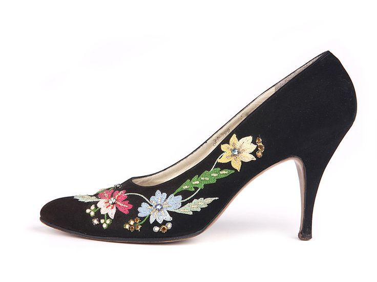 Ferragamo Black suede stiletto shoes, decorated with embroidery and rhinestones....   - Shoes -