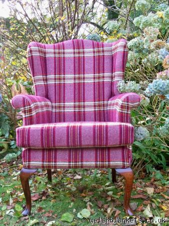 Bespoke Welsh Cloth Wing Back Armchairs   Upholstered Welsh Chairs Soft  Furnishing